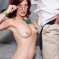 Aged broad Dana Devereaux seducing younger dude for sex clad glasses