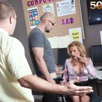Over Fifty ash-blonde MILF schoolteacher Amanda Verhooks caught providing blowjob in classroom