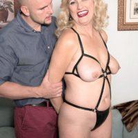 Over fifty golden-haired woman lady Dulbin seducing younger guy in nippleless boulder-holder