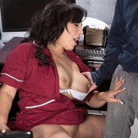 Over Fifty black-haired cleaning lady Victoria Versaci jugg boinking and sucking cock in office