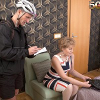 Over Fifty cougar Georgina providing bike courier blowjob in white hose and pumps