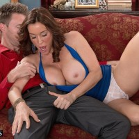 Over 50 MILF Rachel Steele exposing massive boobies before having cootchie gobbled out on sofa