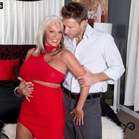Over Fifty MILF Sally D'Angelo having humungous tits liberated from dress by younger stud