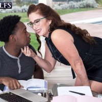 Over 60 lady Maria Fawndeli entices a younger black dude while tutoring him