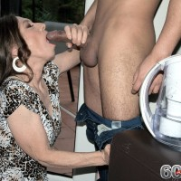 Over Sixty MILF Mona gives a BJ after seducing a junior man in her backyard