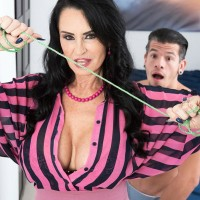Over 60 MILF Rita Daniels seduces her stepson and wanks his cock after stripping him