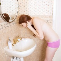 Panty attired inked first-timer dark haired revealing lil' teen breasts in washroom