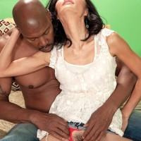 Tiny grandmother Sahara Blue has her all natural twat fingered by her black paramour