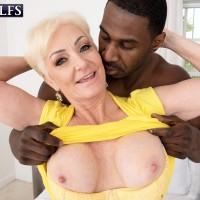 Platinum yellow-haired grandma Seka Black bj's off a younger man's huge black cock