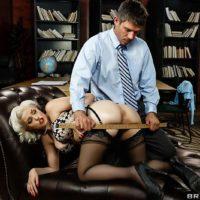 Platinum blond MILF pornstar Jenna Ivory dildoing pooper before firm rectum screw
