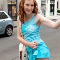 Red-haired amateur Linda Fantastic flaunting upskirt panties outdoors before exposing petite fun bags