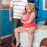 Redhead big hot woman Sadie Berry tempts a stud by showcasing upskirt cotton panties
