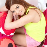 Redhead teenager Loreen shoves forth her lil' boobs after disrobing to her panties