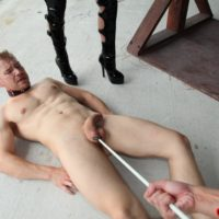 Sadistic damsels Kimmy and Alexia torture collared male submissive with an electroshock tool