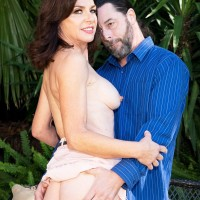 Super-sexy Sixty plus chick Cashmere is disrobed naked before sexual intercourse on a patio