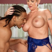 Magnificent ash-blonde grandma Honey Ray has her cooch blown out by a younger ebony man