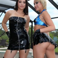 Phat chicks Daisy Marina and Angel tease a male slave while his cock is in confine bondage