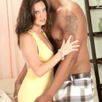 Killer grandmother Gillian Sloan shows her shaved cunt with help from ebony toy man