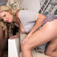 Phat grandmother Mia Magnusson gets banged doggy style after seducing a black boy
