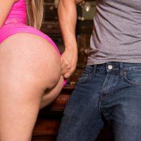 Tempting Latina MILF Samantha Bell seducing boy at bar with her huge butt