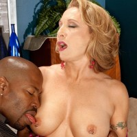Sexy older doll Luna Azul seduces a junior black guy in satin lingerie and denim jeans