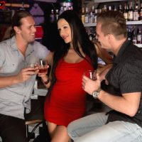 Cool MILF Patty Michova gives 2 dudes fellatio at the same time in a bar