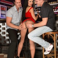 Tempting MILF Patty Michova gives 2 boys blowjobs at the same time in a bar