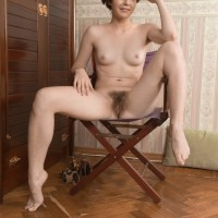 Short haired first-timer in high-heels Aria shedding cut-offs to unveil unshaven snatch