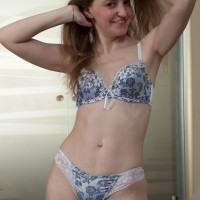 Puny jugged first-timer peeling off lingerie before revealing fur covered honeypot