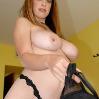 Solo female Brianna Bragg baring massive all-natural juggs from boulder-holder after jeans removal