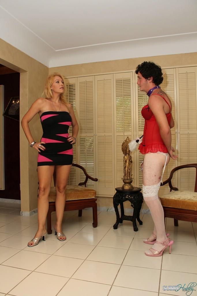 Spindly sandy-haired gf Charlee Haunt training her crossdressing sissy maid