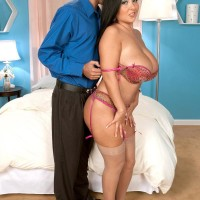 Stocking attired black-haired stunner Daylene Rio having enormous tits and swell nips blown