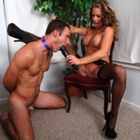 Slave masculine is coerced to suck a faux-cock after snuffling Allura Sky's beaver and bum