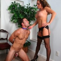 Slave male is coerced to suck a faux penis after snuffling Allura Sky's vagina and ass
