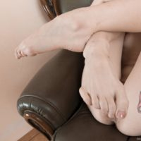 Inked first-timer Emanuelle flaunting hairy slit in pantyhose and heels