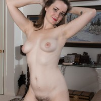 Inked first timer Kelly Morgan loosing diminutive knockers and fur covered fuckbox while undressing