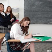 Nubile dykes Alice Drea and Jenna strength college girl into all female threeway in classroom