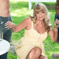 Fatty Sixty plus light-haired Mia Magnusson entices the gardeners outdoors for MMF sex