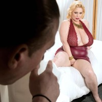 Plumper platinum-blonde Samantha 38G has her immense breasts toyed with by a man acquaintance