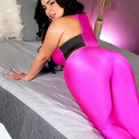 Chunky Latina girl Destiny unsheathes her massive tits in a skintight body-stocking and high heels