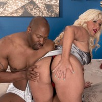 Fatty elderly blond Lori Suarez pulls out her large ass from silk lingerie for her black paramour