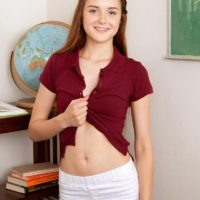 Little redhead amateur Alex Mae disrobing down to milky skivvies and boulder-holder
