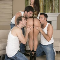 Top XXX video star Jada Stevens offers up her mouth-watering ass for anal sex to three men at once