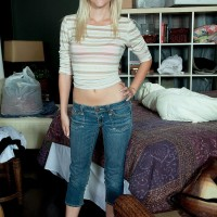 Youthful fair-haired amateur Stacy Smooch removing denim jeans and rosy boulder-holder and panty set