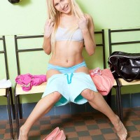 Youthfull light-haired first timer Vanessa Staylon demonstrating uber-cute derriere after disrobing off cut-offs