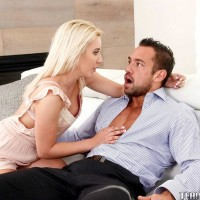 Youthful yellow-haired chick Brooke Underhill consoles old boy and drills his monster-sized cock