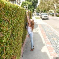 Young sandy-haired chick Lilly Ford doffs her blue denim jeans on way to fucking an elderly dude